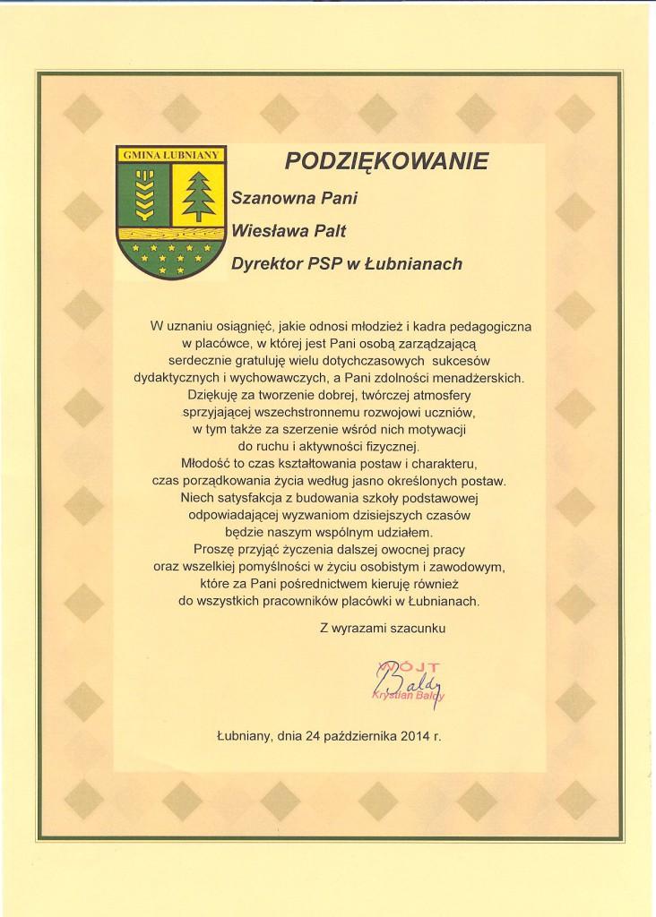 Podziękowanie_Wiesława_Palt_PSP_Łubniany