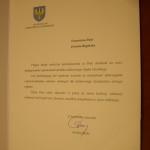 list gratulacyjny Marszałka