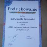 Podziękowanie dla pani Jolanty Begińskiej