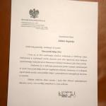 List gratulacyjny Kuratora Oświaty w Opolu