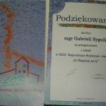Podziękowanie dla pani Gabrieli Sygulki