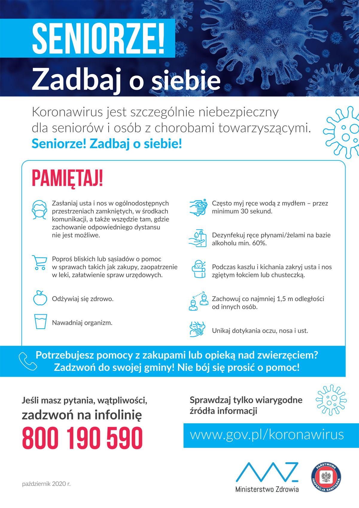 Plakat COVID-19: informacje dla seniorów