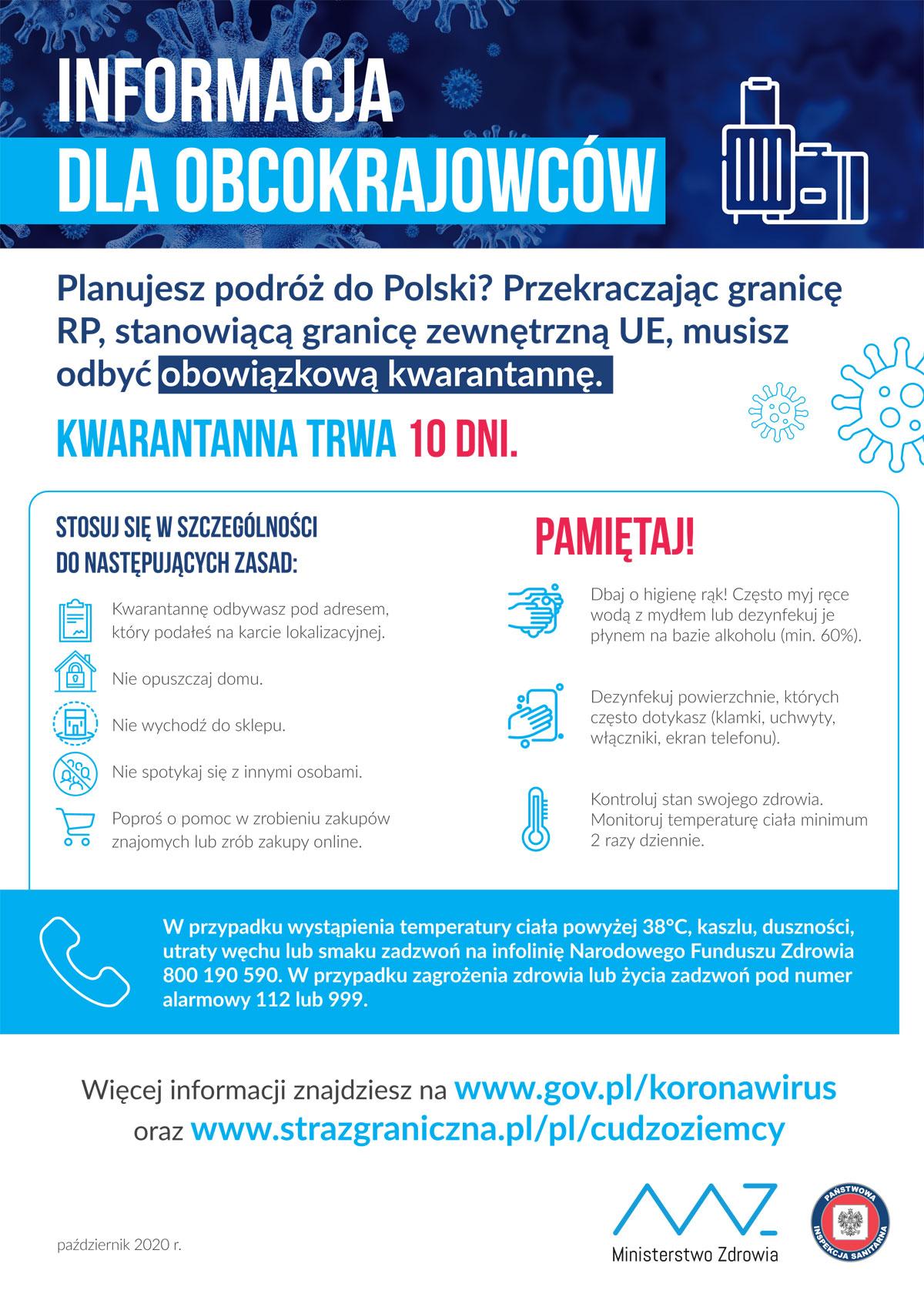 Plakat COVID-19: informacje dla obcokrajowców