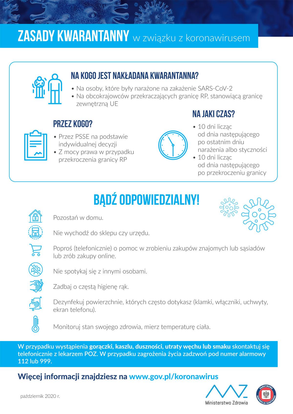Plakat COVID-19: zasady kwarantanny